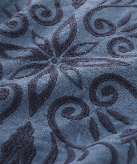 CUSHION COVER:LEAF / NUIT BLUE