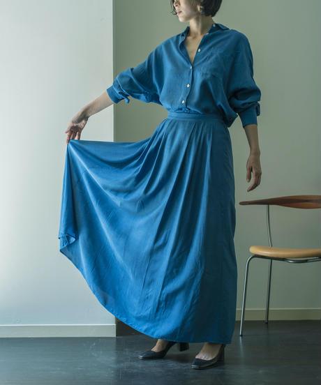 RAYON CUPPULA SILK FLARE LONG SKIRT / MATIN BLUE