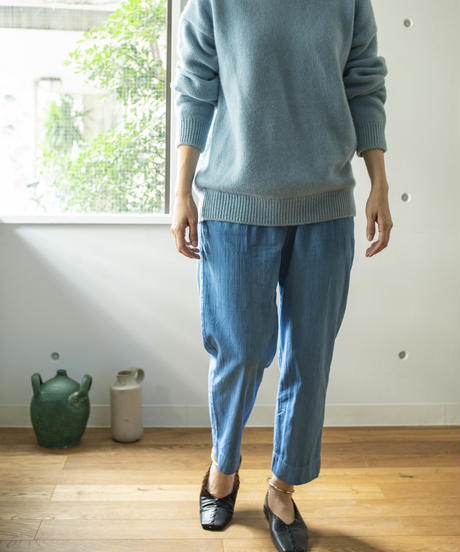 COTTON STRIPE DOBBY PANTS / NUIT BLUE
