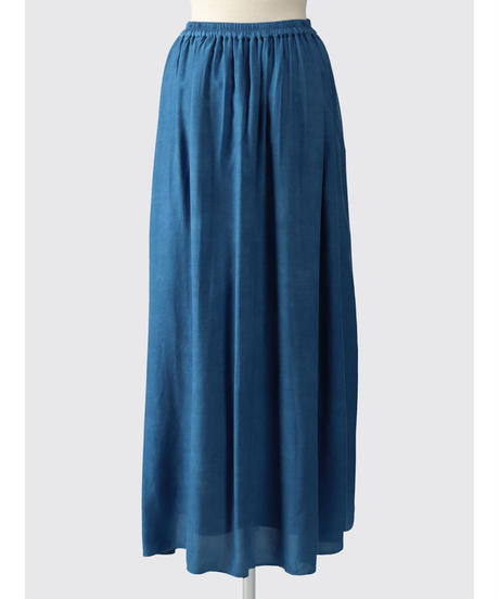 RAYON CUPPULA SILK FLARE LONG SKIRT / NUIT BLUE