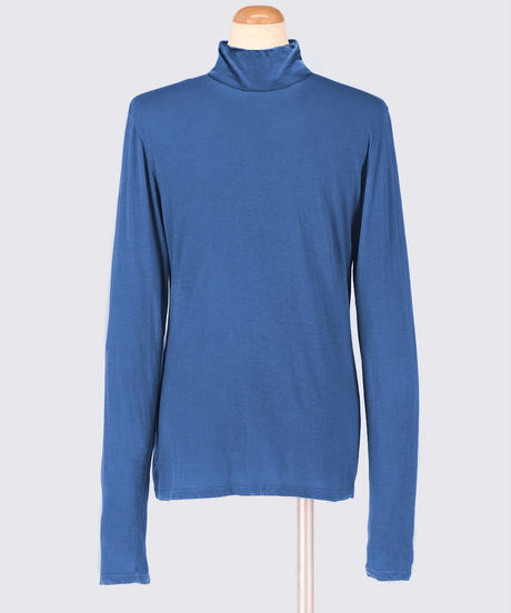 COTTON JERSEY TURTLENECK LONG SLEEVE TOPS / NUIT BLUE