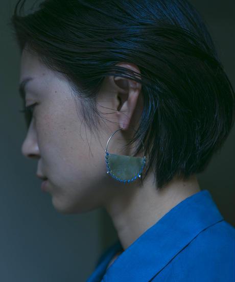 PONT-NEUF EARRINGS / SILVER×MATIN BLUE YARN