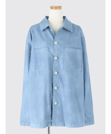 UNEVENLY DYED COTTON NEP SHIRT JACKET / MATIN BLUE