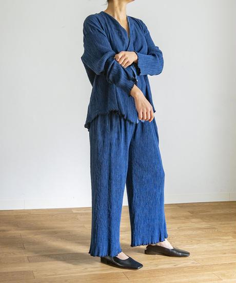 PLEATED HICKORY CARDIGAN / MATIN BLUE
