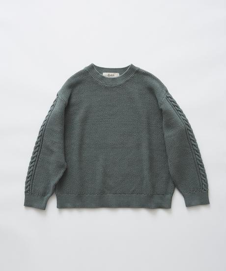 【 eLfinFolk 2019AW 】elf-191K13continuation moss stitch sweater / sage green / 110, 130cm