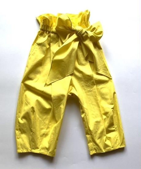 【 folk made 2020SS 】#12 pants with ribbon / yellow  /  LL(140-155)