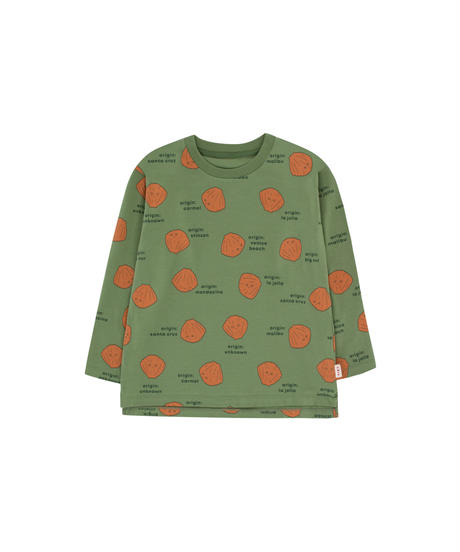 【 tiny cottons 2019SS 】AW19-012 SHELLS LS TEE / green wood/brown