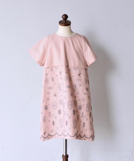 """【 ミナペルホネン 19SS 】XS3245P gemma """"ワンピース"""" / pink beige / 110-130cm"""