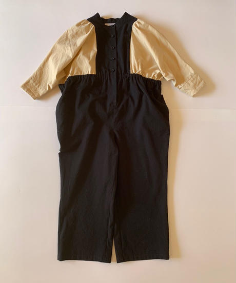 【 folk made 2019AW 】neo jumpsuit / black x beige / size LL(140-155cm)