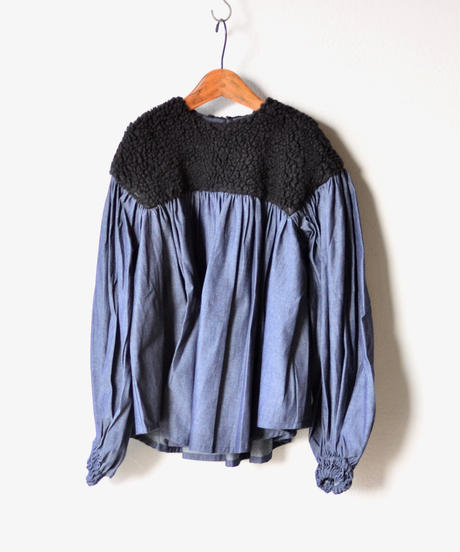 【 folk made 2019AW 】boa gather blouse / black boa x denim / size LL(140-155cm)