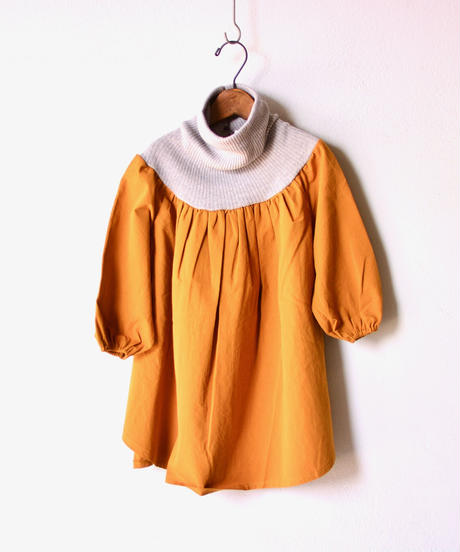 【 folk made 2019AW 】clown dress / mustard x gray / size LL(140-155cm)