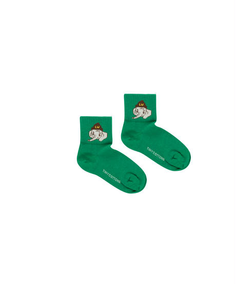 【 tiny cottons 2019AW 】LUCKYPHANT MEDIUM SOCKS / deep green/sand