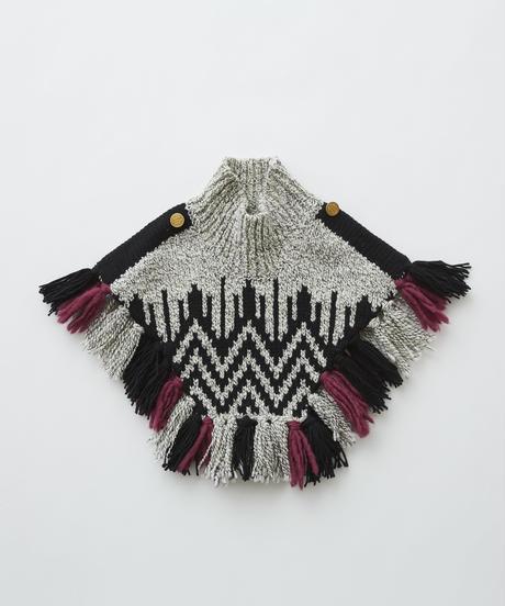 【 eLfinFolk 2019AW 】elf-192K13 Nordic knit mantle / gray×black / Mサイズ
