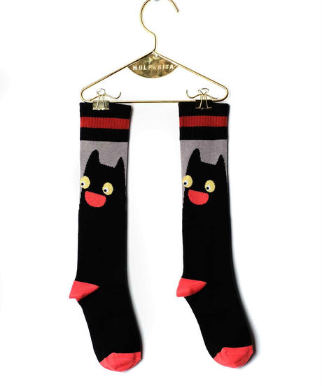 【 WOLF&RITA 2018AW 】 KIDS LONG SOCKS / BLACK CAT