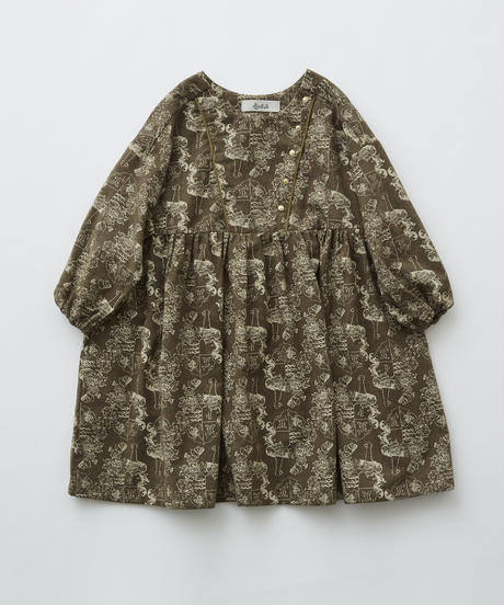 【 eLfinFolk 2019AW 】elf-192F05 ALfaFolk emblem print dress / brown / 110 - 130cm