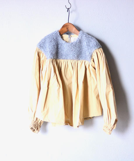 【 folk made 2019AW 】boa gather blouse / grayboa x ivory / size  L(125-140cm)