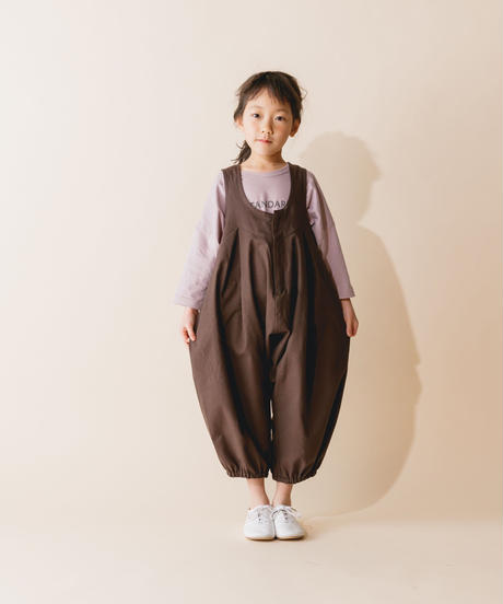 【 nunuforme 2019AW 】nf12-412-012 ビッグパンツサロペット / Brown