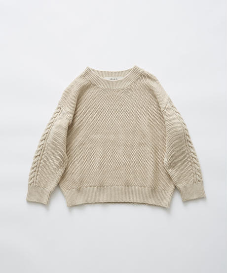 【 eLfinFolk 2019AW 】elf-191K13continuation moss stitch sweater / ivory / 110, 130cm