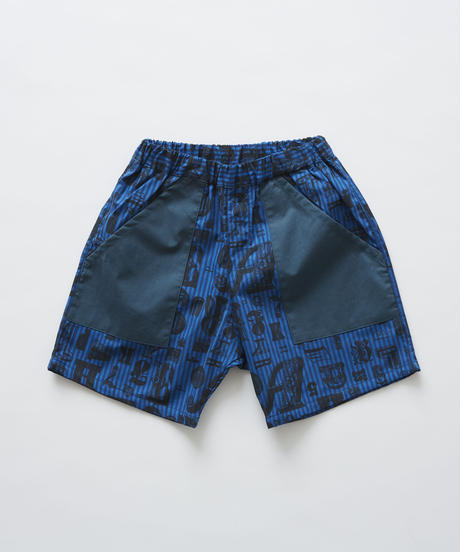 【 eLfinFolk 2019SS 】elf-191F15 stripe×alphabetic print shorts / blue