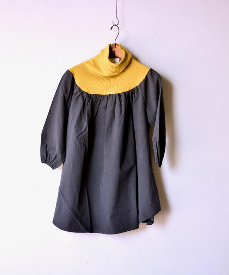 【 folk made 2019AW 】clown dress / charcoal x yellow green / size S, M, L