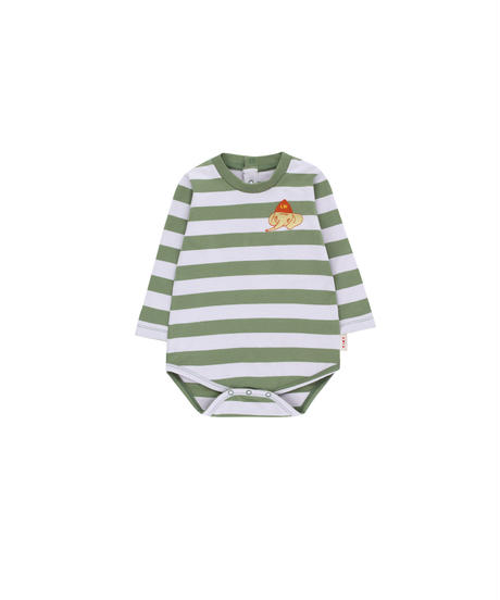 【 tiny cottons 2019SS 】AW19-054 STRIPES LS BODY / green wood/light lilac