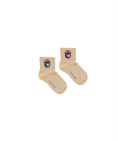 【 tiny cottons 2019AW 】BEAR MEDIUM SOCKS / sand/true navy