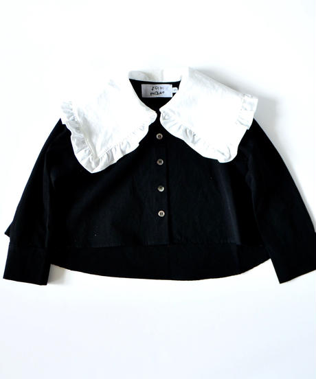 【 folk made 2019AW 】reo frill blouse / white x black