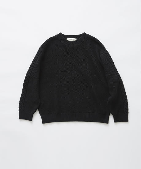 【 eLfinFolk 2019AW 】elf-191K57continuation moss stitch sweater / black / 大人