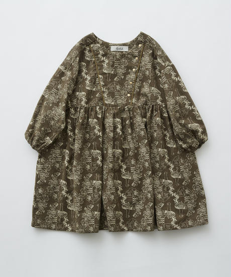 【 eLfinFolk 2019AW 】elf-192F04 ALfaFolk emblem print dress  / brown / 90 - 100cm