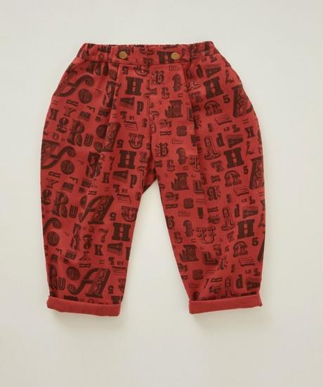 【 eLfinFolk 2018AW 】elf-182F06 alphabetic print pants / brick red / 110-130cm