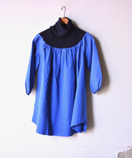 【 folk made 2019AW 】clown dress / blue x navy / size S, M, L