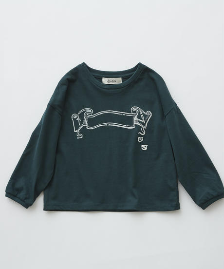 【 eLfinFolk 2019AW 】elf-192J03 flag print long sleeve-T / green / 140 - 150cm