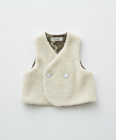 【 eLfinFolk 2019AW 】elf-192F31 sheep boa baby vest / ivory / 80 - 100cm