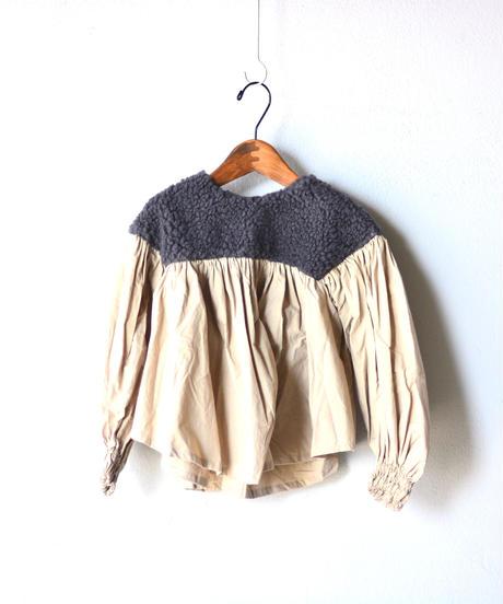 【 folk made 2019AW 】boa gather blouse / charcoal boa x beige / size S, M