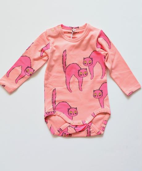 【 mini rodini 2019AW 】19740128  Catz ls body  / Pink / 68/74cm