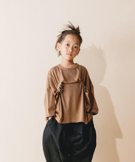 【 nunuforme 2019AW 】nf12-967-500 タックフリルT / Brown / 大人