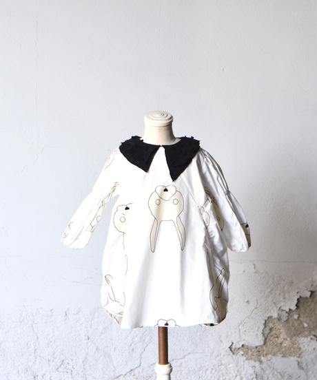 【 franky grow 2019AW 】19FWOP-140 TOTAL HANDLE CRIONE DRESS / WHITE-IVORY RABBIT