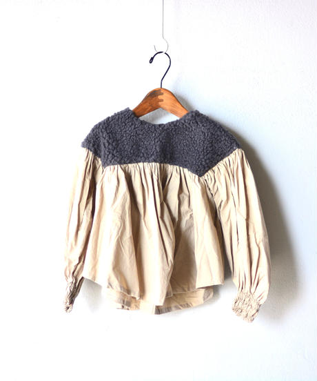 【 folk made 2019AW 】boa gather blouse / charcoal boa x beige / size  L(125-140cm)