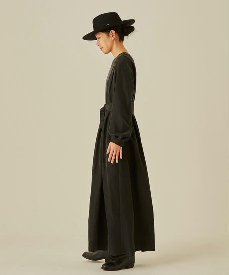 【 eLfinFolk 2019AW 】elf-192F50 modal belted long dress / black / 大人