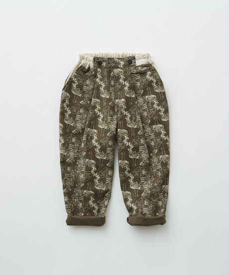 【 eLfinFolk 2019AW 】elf-192F07 ALfaFolk emblem print pants / brown / 110 - 130cm