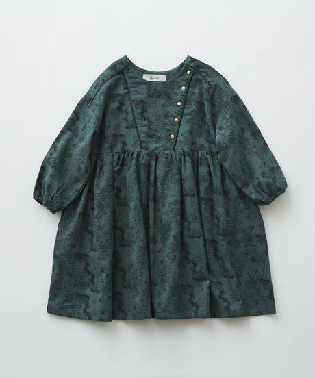 【 eLfinFolk 2019AW 】elf-192F05 ALfaFolk emblem print dress / green / 110 - 130cm