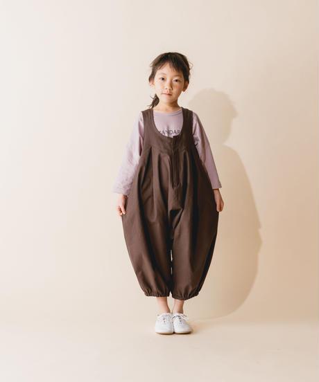 【 nunuforme 2019AW 】nf12-412-012 ビッグパンツサロペット / Brown  / 大人