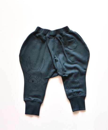 【 franky grow 2019AW 】19FWBT-231 TOTAL HANDLE KNEE PATCH SWEAT PANTS / DEEP BLACK-BLACK RABBIT