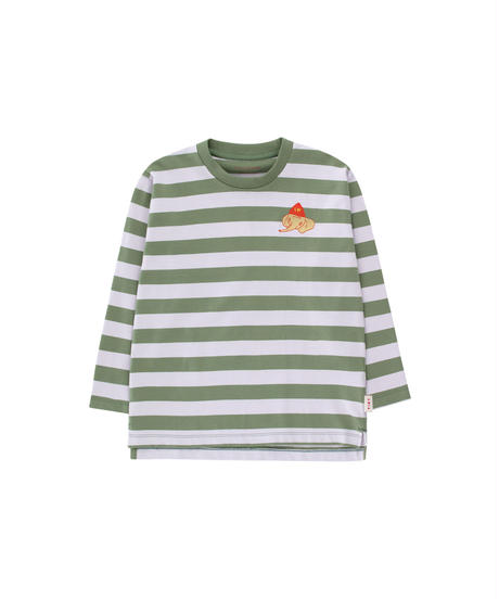 【 tiny cottons 2019SS 】AW19-053 STRIPES LS TEE / green wood/light lilac