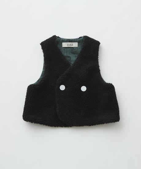 【 eLfinFolk 2019AW 】elf-192F31 sheep boa baby vest / black / 80 - 100cm