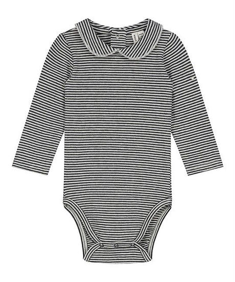 【 GRAY LABEL 2019AW】Baby Collar Onesie / Nearly Black/Cream Stripe / 9-12m