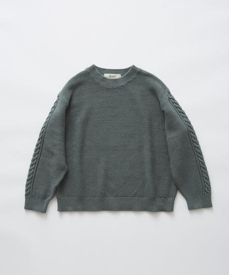 【 eLfinFolk 2019AW 】elf-191K57continuation moss stitch sweater / sage green / 大人