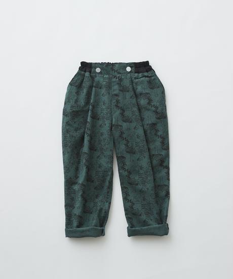 【 eLfinFolk 2019AW 】elf-192F07 ALfaFolk emblem print pants / green / 110 - 130cm