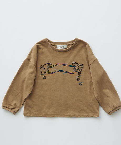 【 eLfinFolk 2019AW 】elf-192J02 flag print long sleeve-T / camel / 110 - 130cm