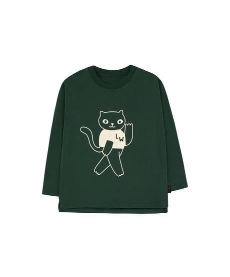 【 tiny cottons 2019SS 】AW19-045 CAT LS TEE / bottle green/light cream1